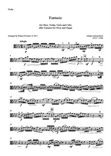 Fantasia for Oboe and Organ in F Minor: Version for oboe, violin, viola and cello – viola part by Johann Ludwig Krebs