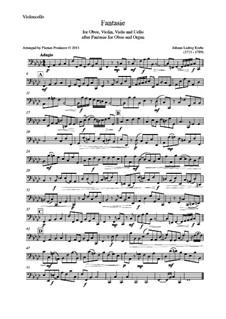 Fantasia for Oboe and Organ in F Minor: Version for oboe, violin, viola and cello – cello part by Johann Ludwig Krebs