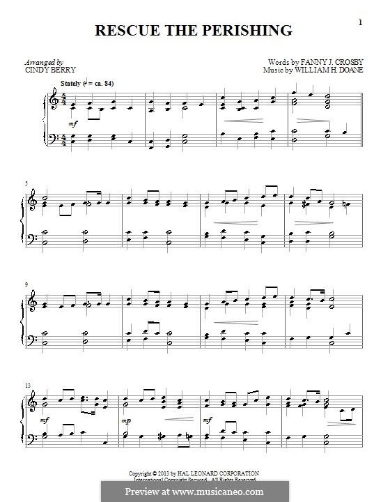 Rescue the Perishing: Für Klavier by William Howard Doane