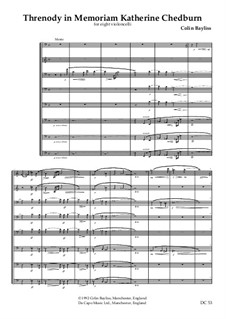 Threnody for 8 cellos: Threnody for 8 cellos by Colin Bayliss