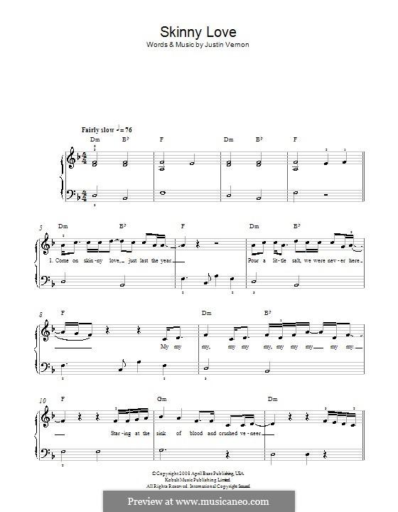 Skinny Love (Bon Iver): Für Klavier by Justin Vernon