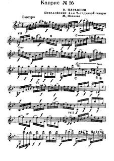 Vierundzwanzig Capricen, Op.1: Caprice Nr.16, für Gitarre by Niccolò Paganini
