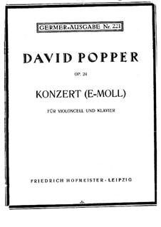 Konzert für Cello und Klavier Nr.2 in e-Moll, Op.24: Partitur für Cello und Klavier by David Popper