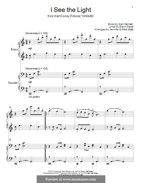 I See the Light: Für Klavier, vierhändig by Alan Menken