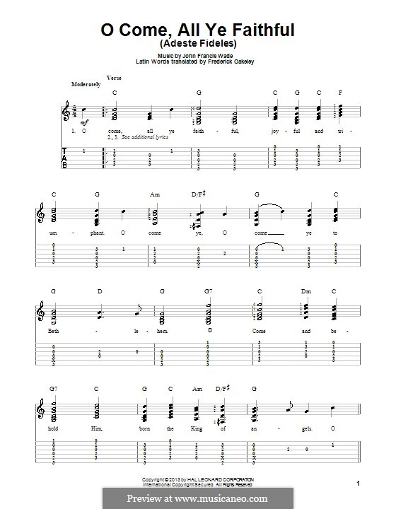 O Come, All Ye Faithful (Printable Scores): For guitar with tab (C Major) by John Francis Wade