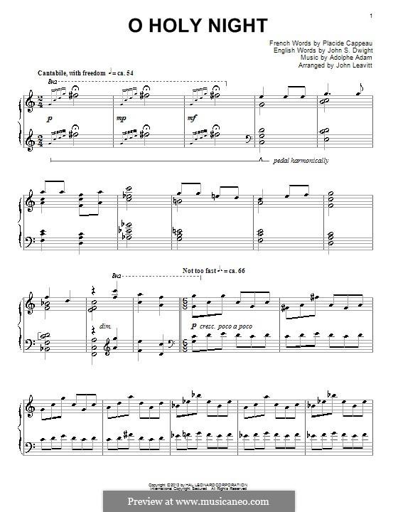 O hehre Nacht, für Klavier: Sehr leichte Fassung by Adolphe Adam