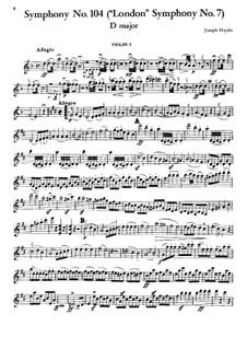 Sinfonie Nr.104 in D-Dur 'London', Hob.I/104: Violinstimme I by Joseph Haydn