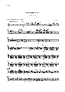 Suite Nr.2, Op.55: Arabian Dance, for oboe, cor anglais, violin and double bass – violin part by Edvard Grieg