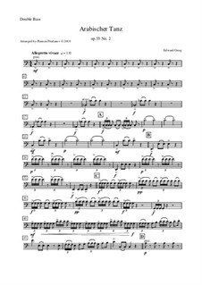 Suite Nr.2, Op.55: Arabian Dance, for oboe, cor anglais, violin and double bass – double bass part by Edvard Grieg
