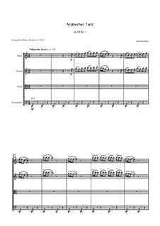 Suite Nr.2, Op.55: Arabian Dance, for oboe, violin, viola and cello by Edvard Grieg