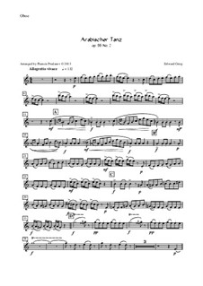 Suite Nr.2, Op.55: Arabian Dance, for oboe, violin, viola and cello – oboe part by Edvard Grieg