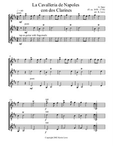 La Cavalleria de Nápoles con dos clarines: For three guitars – score and parts by Gaspar Sanz