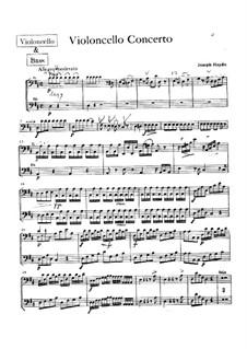 Konzert für Cello und Orchester Nr.2 in D-Dur, Hob.VIIb/2: Cello- und Kontrabass-Stimme by Joseph Haydn