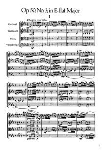 Streichquartett Nr.38 in Es-Dur, Hob.III/46 Op.50 No.3: Vollpartitur by Joseph Haydn