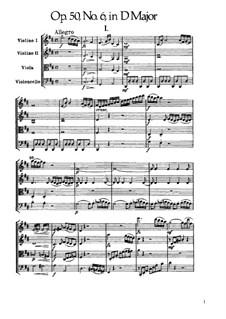 Streichquartett Nr.41 in D-Dur, Hob.III/49 Op.50 No.6: Vollpartitur by Joseph Haydn
