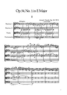 Streichquartett Nr.44 in E-Dur, Hob.III/59 Op.54 No.3: Vollpartitur by Joseph Haydn
