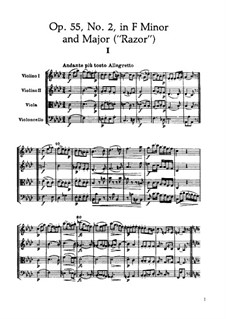 Streichquartett Nr.46 in f-Moll 'Rasiermesser', Hob.III/61 Op.55 No.2: Partitur by Joseph Haydn