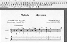 Zwei Melodien, Op.3: Melody No.1, for guitar with tablature by Anton Rubinstein