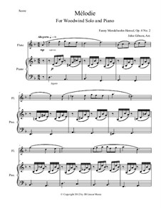 Sechs Melodien für Klavier, Heft I, Op.4: Melodie No.2, for flute, oboe, clarinet (or bassoon) and piano by Fanny Cäcilie Mendelssohn-Bartholdy