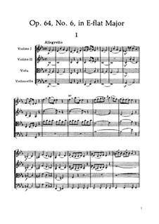 Streichquartett Nr.52 in Es-Dur, Hob.III/64 Op.64 No.6: Partitur by Joseph Haydn