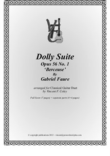 Dolly Suite, Op.56: No.1 Berceuse, for two guitars by Gabriel Fauré