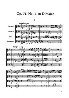 Streichquartett Nr.55 in D-Dur, Hob.III/70 Op.71 No.2: Partitur by Joseph Haydn
