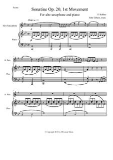 Drei Sonatinen für Klavier, Op.20: Sonatina No.1. Movement I, for alto saxophone and piano by Friedrich Kuhlau