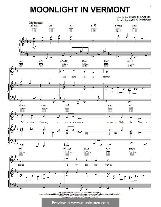Moonlight in Vermont (Frank Sinatra): Für Stimme und Klavier (oder Gitarre) by Karl Suessdorf
