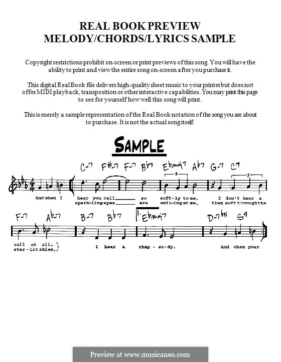 Moonlight in Vermont (Frank Sinatra): Lead sheet by Karl Suessdorf