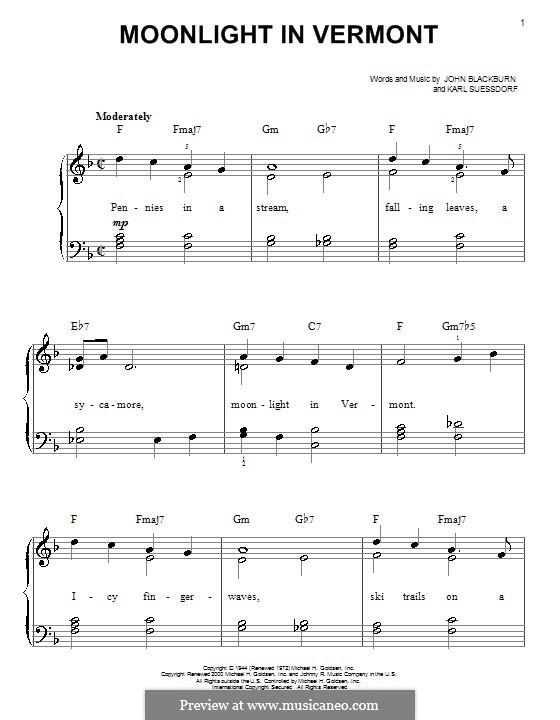 Moonlight in Vermont (Frank Sinatra): Für Klavier by Karl Suessdorf