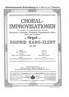 Choral-Improvisationen für Orgel, Op.65: Buch VI by Sigfrid Karg-Elert