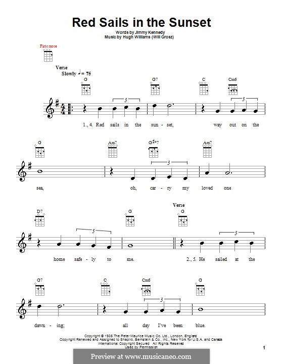 Red Sails in the Sunset (Fats Domino): Für Ukulele by Hugh Williams