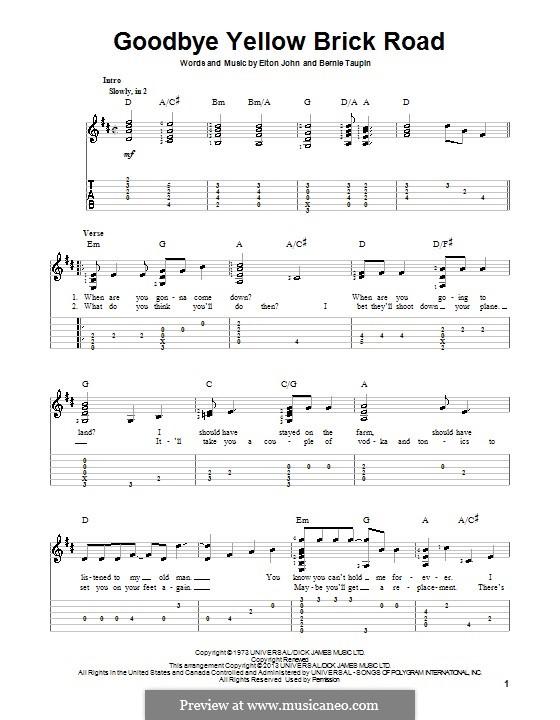 Goodbye Yellow Brick Road: Für Gitarre mit Tab by Elton John