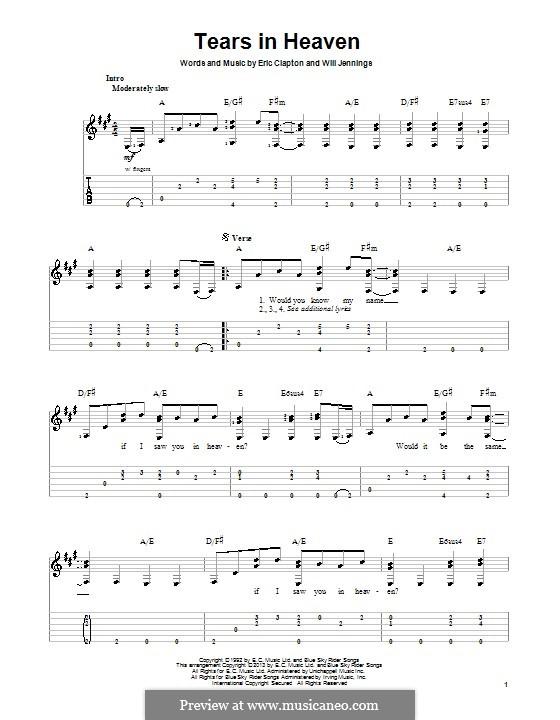 Tears in Heaven: Für Gitarre mit Tab by Eric Clapton, Will Jennings