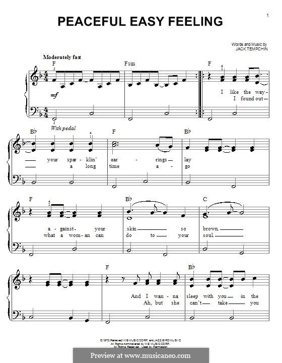 Peaceful Easy Feeling (The Eagles): Für Klavier by Jack Tempchin