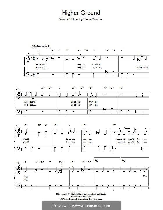 Higher Ground: Für Klavier by Stevie Wonder