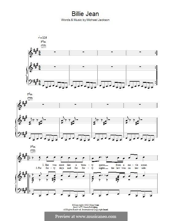 Billie Jean: Für Stimme und Klavier (oder Gitarre) by Michael Jackson