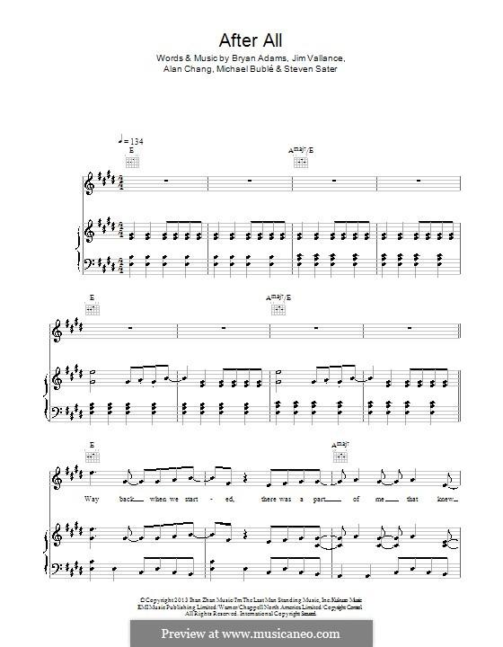 After All: Für Stimme und Klavier (oder Gitarre) by Alan Chang, Bryan Adams, Jim Vallance, Michael Bublé, Steven Sater