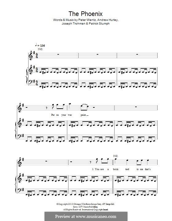 The Phoenix (Fall Out Boy): Für Stimme und Klavier (oder Gitarre) by Andrew Hurley, Joseph Trohman, Patrick Stump, Peter Wentz