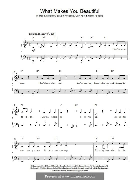 What Makes You Beautiful (One Direction): Für Klavier by Carl Falk, Savan Kotecha