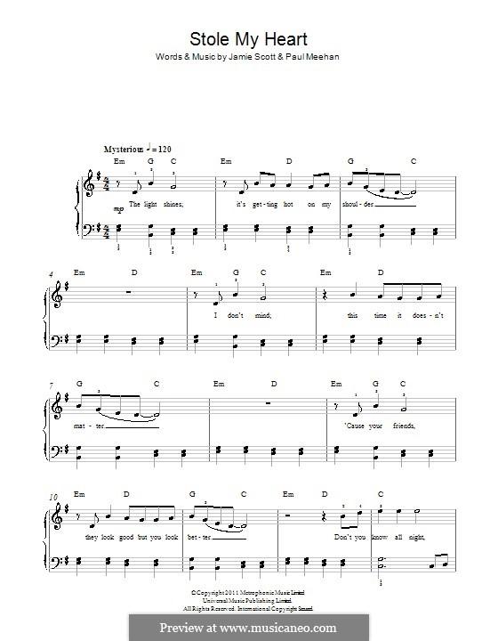 Stole My Heart (One Direction): Für Klavier by Paul Meehan, Jamie Scott