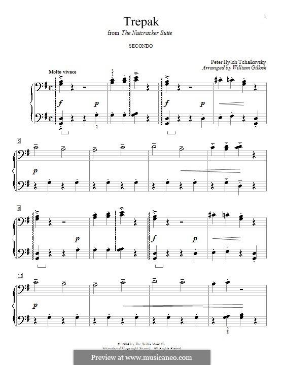 Nr.4 Russischer Tanz (Trepak): Für Klavier, vierhändig by Pjotr Tschaikowski