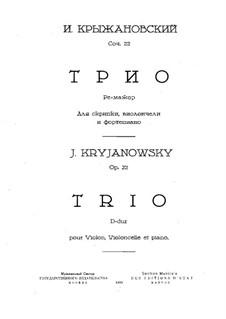 Klaviertrio in D-dur, Op.22: Vollpartitur by Ivan Krischanowskij