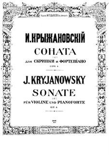 Sonate für Violine und Klavier in e-Moll, Op.4: Partitur by Ivan Krischanowskij