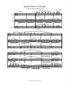 Zwölf Spanische Tänze: Dance No.2, for flute, oboe, and bassoon by Enrique Granados