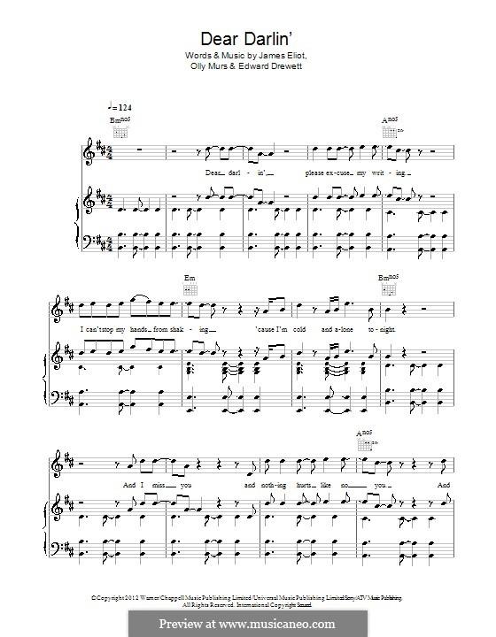 Dear Darlin': Für Stimme und Klavier (oder Gitarre) by Ed Drewett, James Eliot, Olly Murs