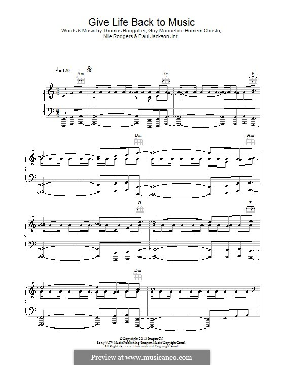 Give Life Back To Music (Daft Punk): Für Stimme und Klavier (oder Gitarre) by Nile Rodgers, Thomas Bangalter, Guy-Manuel de Homem-Christo, Paul Jackson Jr.