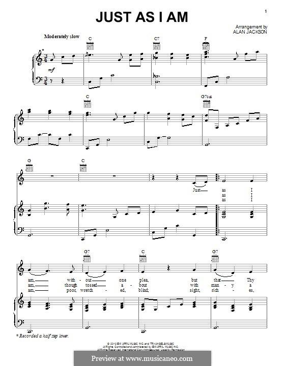 Just as I am: Für Stimme und Klavier (oder Gitarre) by William Batchelder Bradbury