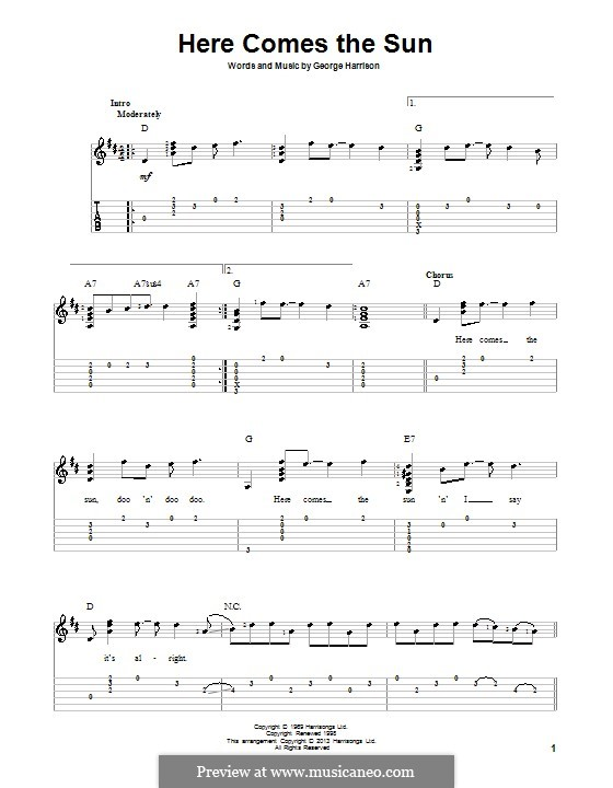 Here Comes the Sun (The Beatles): Für Gitarre mit Tab by George Harrison