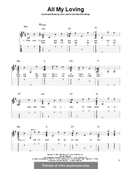All My Loving (for guitar or piano): Für Gitarre mit Tab by John Lennon, Paul McCartney